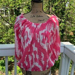 J. Crew Pink Ikat Pattern Cotton Flowy Blouse | XS
